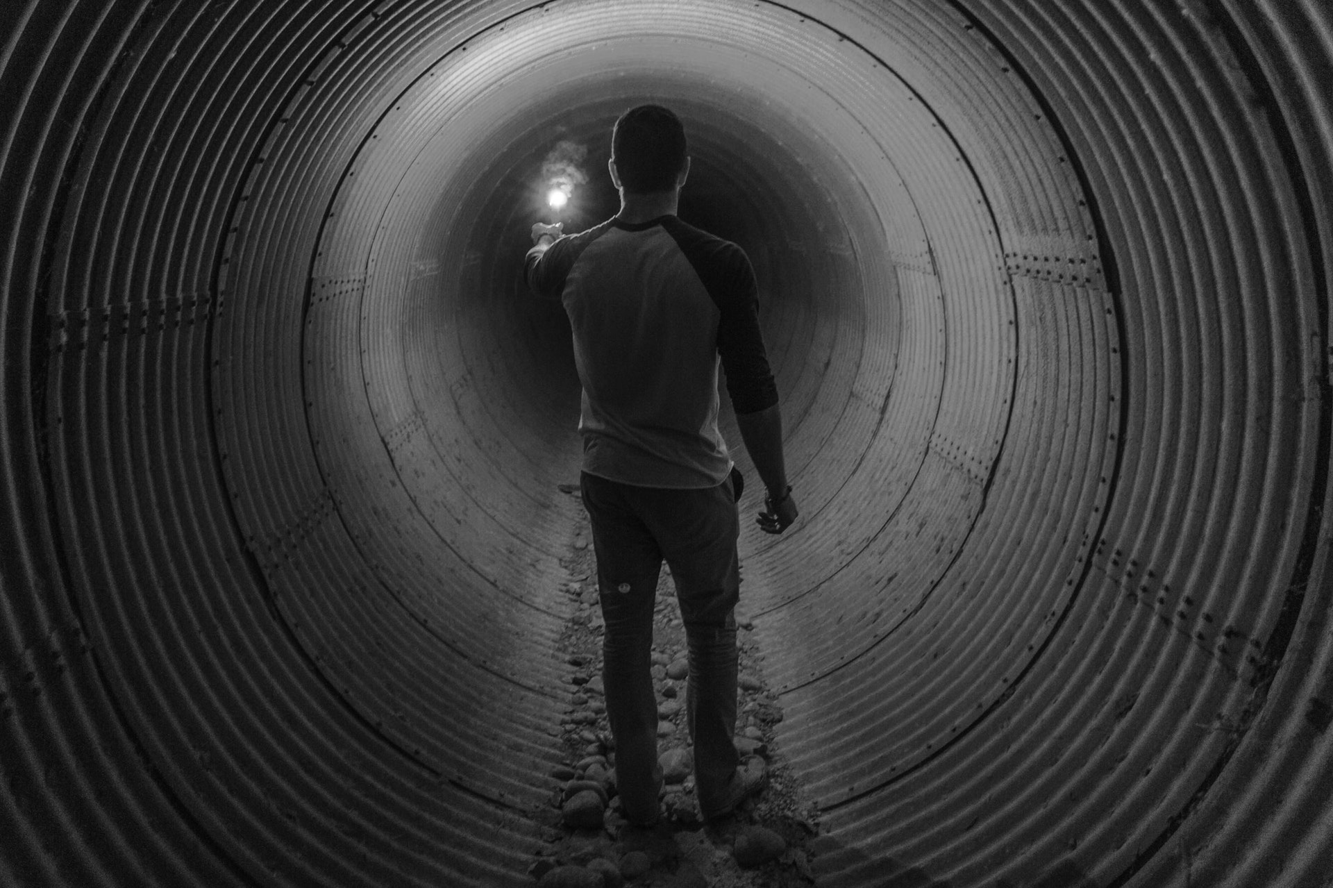 Man alone in tunnel