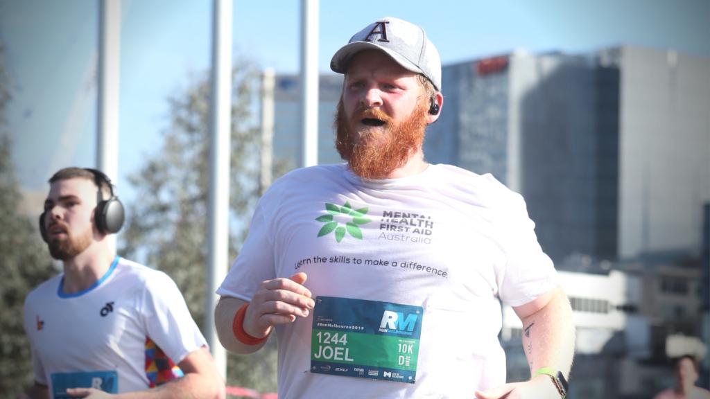 JC nearing the finish line of the 2019 Run Melbourne 10km run